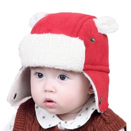 a1e5be72d57 Unisex Baby Winter Warm Bomber Hats Kids Children Solid Color Add Velvet Earflap  Cap Earmuffs hat MZ5236