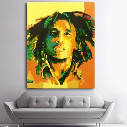 oil portrait frames UK - 1 Panel Abstract Portrait Oil Painting Bob Marley Canvas Painting Printed on Canvas Wall Art Hanging Pictures Fashion Home Decor No Framed