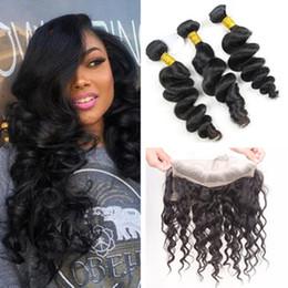 $enCountryForm.capitalKeyWord NZ - Peruvian Virgin Hair Loose Wave 3 Bundles with Lace Frontal Curly Weave Human Hair Peruvian Curly Hair 360 Lace Closure With Bundles