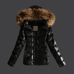 Manteau À Col Bon Marché Pas Cher-Women Jackets Glossy Parka Duck Down Manteaux Femmes Vêtements Real Raccoon Fur Collar Hood Short Brand Jacket Cheap