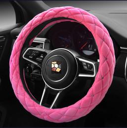 Hot Car Styling Autumn Winter Studded Rhinestone Covered Plush Steering Wheel Covers Ladies Women 38cm Diamond Cases