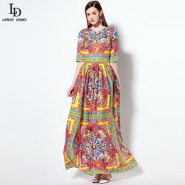 $enCountryForm.capitalKeyWord Australia - Fashion- High Quality New Nice Fashion Runway Designer Summer Dress Women€s Half Sleeve Warrior Character Floral Print Maxi Long Dres
