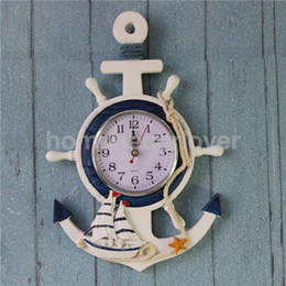 Wholesale-Anchor Clock Beach Sea Theme Nautical Ship Wheel Rudder Steering Wheel Starfish Decor Wall Hanging Decoration