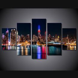 $enCountryForm.capitalKeyWord Canada - 5 Pcs Set Framed HD Printed Brooklyn Manhattan New York Wall Art Picture Canvas Print Decor Poster Modern Canvas Oil Painting