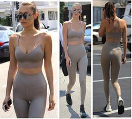 $enCountryForm.capitalKeyWord Australia - 2017 New fashion women's sports yoga running skinny sexy spaghetti strap crop top vest and pencil pants long leggings twinset suit SML