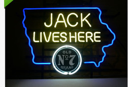 China Fashion New Handcraft Jack Lives Here IOWA OLD #7 WHISKEY Real Glass Beer Bar Display neon sign 19x15!!!Best Offer! suppliers