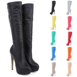 Size Black Pvc Knee High Boots Canada - Boot Female Brand New Women High Heels Knee Wide Leg Stretch Women Boots Sexy Winter Autumn Shoes Us Size 4 5 6 7 8 9 10 11 D0040