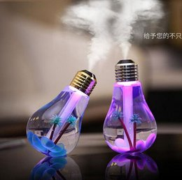 Wholesale USB LED Humidifier Light bulb Mist Maker Ultrasonic Aromatherapy Creative Colorful transformation colors Atomizer Diffuser Office Car DHL