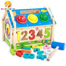 Knock Toy NZ - Wooden Jigsaw Puzzle Educational Toy Detachable Multifunctional Geometric Shape Matching Wisdom Mini House Knocking Balls Table Digital Room