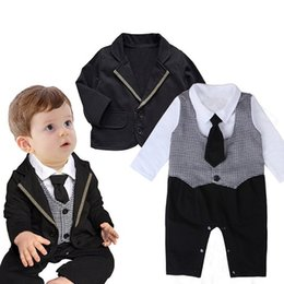 Baby Winter Suit Overalls NZ - winter gentlemen suit coat+rompers clothes sets tie jumpsuits infant boys collar shirts rompers baby boy clothing suits toddler overall suit