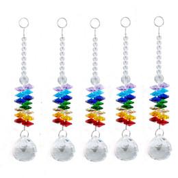 5 UNIDS Crystal Ball Prisma Arco Iris Octagon Chakra Suncatcher Cristales Colgantes Adornos de Ventana para Regalo 20mm W024