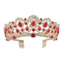 $enCountryForm.capitalKeyWord UK - Vintage Wedding Bridal Red Crystal Crown Tiara Blue Green Rhinestone Headband Hair Accessories Comb Headpiece Party Prom Queen Headdress