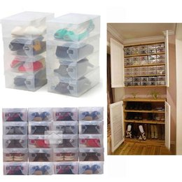 stackable shoe boxes NZ - 28 x 18 x 10 cm Transparent Womens Stackable Crystal Clear Plastic Shoe Storage Boxes Free Shipping