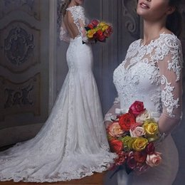 Barato Barato Moda Mangas Compridas-New Arrivals moda Sheer Neck Long Sleeve Lace Vestidos de casamento 2017 Sexy Backless Sweep Train Sereia Bridal Vestidos baratos
