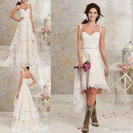 Discount lace country plus size wedding dress - 2016 New Sexy Two Pieces Wedding Dresses Spaghetti Lace A Line Bridal Gowns With Hi-Lo Short Detachable Skirt Country Bo