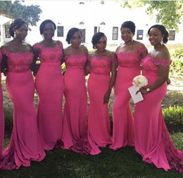 NigeriaN lace short dresses online shopping - 2017 Nigerian Fuchsia Mermaid Bridesmaid Dresses For Wedding Guest Dress Off Shoulder Lace Appliques Beads Satin Long Maid of Honor Gowns