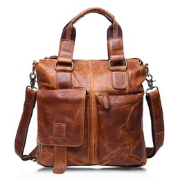 China Wholesale- Vintage Genuine Leather Men shoulder bag briefcase bags Crazy Horse Oil wax Leather Brand business handbag Available for A4 cheap branded leather bags for men suppliers
