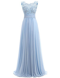 Light coraL Lace dress Long online shopping - Light Sky Blue Prom Dress Cap Sleeve Robe Ceremonie Femme Long Elegant Evening Dresses Floor Length Party Gowns