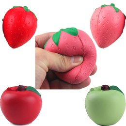 China EMS 120pcs in stock Red 2017 Squishy Strawberry Apple Decompression Anxiety Toys Cell Phone Charms Pendant Strap Artificial Slow Rising Toy supplier pendant apple green suppliers