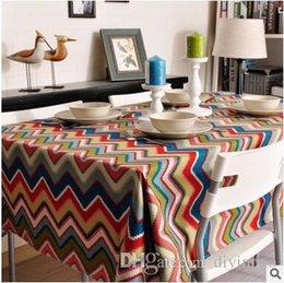 $enCountryForm.capitalKeyWord NZ - Canvas 100*150 square Table cloth waterproof cotton Table Cover Bohemian color stripe Banquet wedding Party Decoration Tables Home Textile
