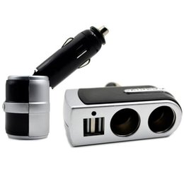 Discount sockets car cigarette adapter - Wholesale- 2016 Universal Dual Sockets In Car Splitter Cigarette Adapter Charger With Usb Port With Power Indicator