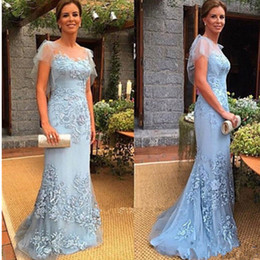 Discount cap sleeve mother bride dresses sale - Hot Sale!! Long Column Mother of the Bride Dress Lilac Handmade Applique 2017 Custom Made Tulle Formal Evening Gowns Ele
