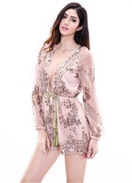 Barato Senhoras Macacão Para Praia-Deep v neck floral print Beach Rompers Mulheres Jumpsuit Ladies Sexy Vertical Stripe Backless Cutaway Pink Chiffon manual Sequins