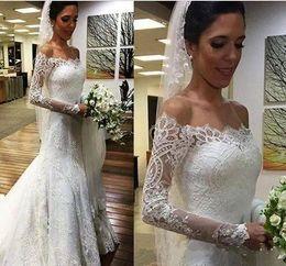 $enCountryForm.capitalKeyWord Australia - 2017 White Vestios De Novia Vintage Full Lace Long Sleeves Wedding Dresses Off Shoulders Arabic Button Back Bridal Dresses with Sweep Train