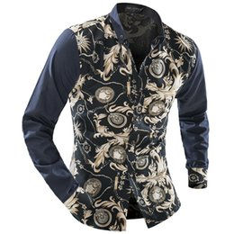 $enCountryForm.capitalKeyWord Canada - Wholesale- New 2016 Spring Autumn Sales Mens Floral Long Sleeve Shirts Gold Stitching Flower Shirts For Men Casual Blusa Masculina