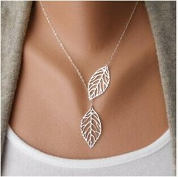 $enCountryForm.capitalKeyWord Australia - 2016 New Gold And Sliver Two Leaf Pendants Necklace Chain multi layer statement necklaces Woman Gift SALE