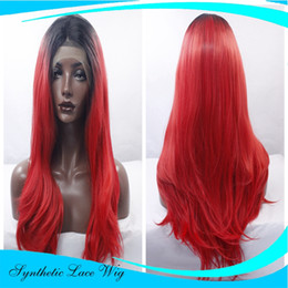 $enCountryForm.capitalKeyWord NZ - red body wave synthetic lace front wig with black roots red ombre wavy glueless wigs for woman heat resistant fiber hair
