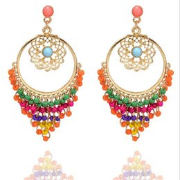 Elegant Hollow Flower Pendant Dangling Earrings Bohemia Style Colors Beads  Tassel Stud Earrings Girl Gold Hoop Earrings Lady Holiday Jewelry ad1cf4db8723