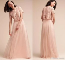 Barato Vestidos De Dama De Honra Vintage Blush-2017 Blush Pink Two Pieces Vestidos de dama de honra Vintage Lace Top Tulle Long Maid of Honor Prom Party Gowns