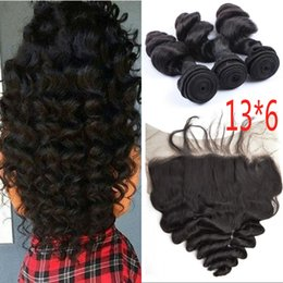 $enCountryForm.capitalKeyWord NZ - Indian Human Hair Bundles with Lace Frontals Loose Wave Virgin Hair Closure with 3 Bundles 13x6 Lace Frontal with Baby Hair FDSHINE