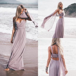 $enCountryForm.capitalKeyWord NZ - 2018 New One Spaghetti Beach Bridesmaid Dresses With Wrap Long Floor Chiffon Backless Sexy Maid of Honor Dress