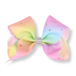 China 10 Pcs 5 Inch Jojo Girls Rainbow Full Rhinestone Hair Bow With Clip Bowknot Center With Rhinestone Barrettes Beautiful HuiLin AW09 suppliers