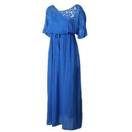 Short Sleeve Lace Summer Autumn Dress 2016 Women Big Plus Size Long Maxi  Party Vintage 5XL 6XL Loose Vacation Hollow Blue Unique 8a7a84f753a3