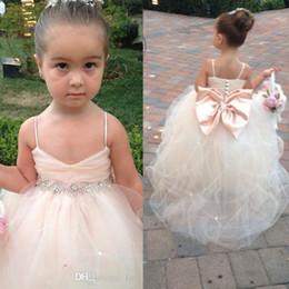 30790d7b0efc Pageant Dresses For Girls Spaghetti Sleeveless Flower Girl Dresses White  Ivory Champagne Kids Ball Gowns Wedding