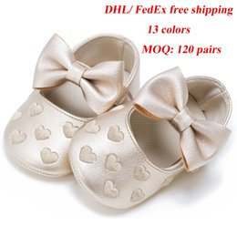 Hard Sole Baby Shoes Wholesale Canada - DHL FedEx free ship 13 Color Baby moccasins soft sole 100% genuine leather first walker shoes Bowknot Heart Embroidery newborn baby shoes