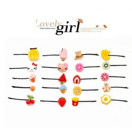 ordering african hair NZ - Cute hair ornaments word clip Harajuku card children cherry hairpin fruit lemon Meng head decoration FJ067 mix order 60 pieces a lot