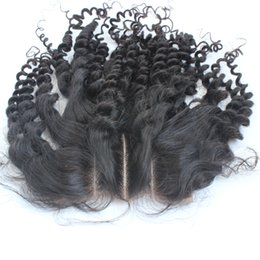 peruvian lace closure fast shipping UK - Lace closure 4x4 Size three part kinky curly human hair closure with baby hair natural hairline bleached knots with fast shipping