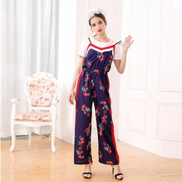 $enCountryForm.capitalKeyWord Canada - European station 2017 new summer new all-match T-shirt + printing Jumpsuit sling wide leg pants suit two piece
