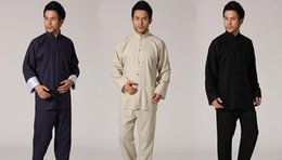 linen tang suit NZ - Chinese tang suit men's cotton and linen kung fu tai chi suit suits lay garments men even sleeve hanfu costume