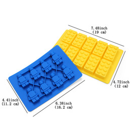 building block mold NZ - Silicone Combo Ice Cube Trays (Set of 2) Robot Ice Cube Tray And Building Block Ice Sphere Mold BPA free