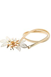 Band Belts NZ - Wholesale- Women Lady Gold Metal Chain Flower Waistbelt Elastic Strap Waist Belt Band