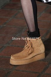 low wedge ankle boots Canada - brand wang Women Genuine Leather Round Toe Ankle strap Low Heel Ankle boots Ladies Nubuck leather Autumn Winter platform boots botas mujer