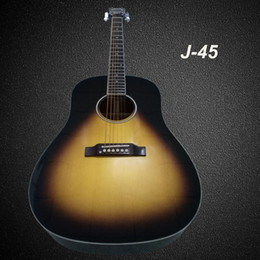 Guitars knobs online shopping - handcrafted OEM inch j45 acoustic electric guitar solid spruce top China made guitars