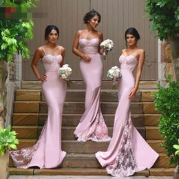 $enCountryForm.capitalKeyWord Canada - Under 90$ Spaghetti Straps Lace Satin Bridesmaid Dresses Skirt Train Appliques Blush Pink Mermaid Formal Party Prom Gown Dresses Cheap