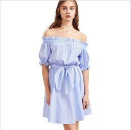 Vertical Stripe Dresses Canada - Free shipping European and American fashion women's dresses summer vertical stripes collar wood ear dress strapless dress