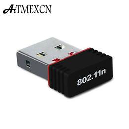 Discount usb computer network - Wholesale- Mini PC WiFi adapter 150M USB WiFi antenna Wireless Computer Network Card 802.11n g b LAN+Antenna wi-fi adapt